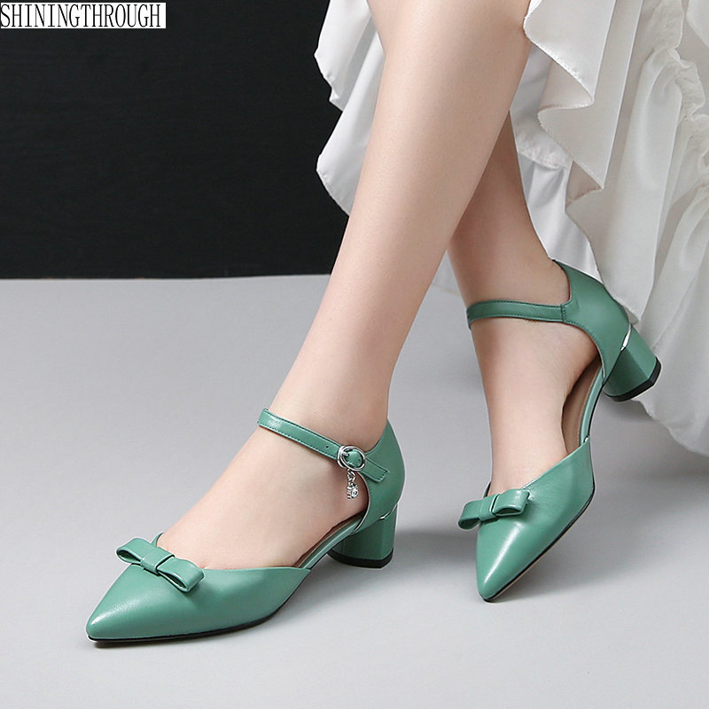 Brand Women Low Heeled shoes Cow Leather poined Toe Office sandals Female Four Season Shoes Woman