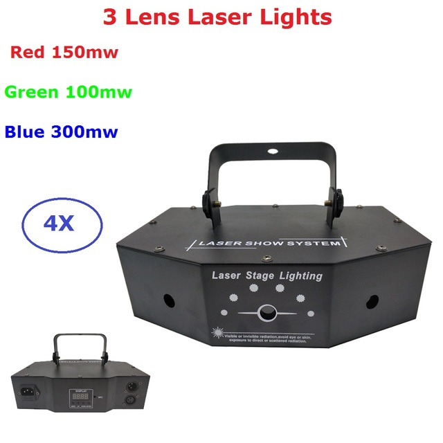 4 Units 3 Eyes 500MW Red Green Blue RGB Multi Color DMX Laser Beam Animation Scan DJ Disco Party Stage Decoration Lazer Lights