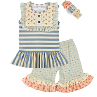 New Design Girls Summer Sleeveless Clothing Striple Dress With Ruffle Pants High Quality Kids Outfits With