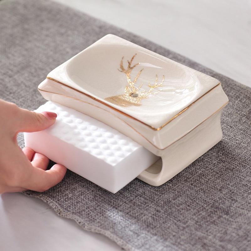 Wourmth 5 pièces ensemble de salle de bain en céramique liquide bouteille distributeur porcelaine savon porte-brosse à dents décoration de la maison nouvel an cadeau - 3