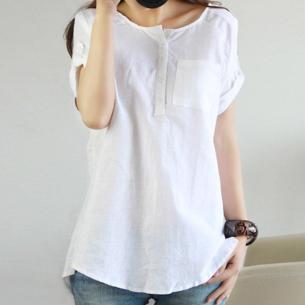 Blouse Women Summer Women Summer Casual Short Sleeve Loose  Shirt Cotton Linen Blouse Tops Blusas Mujer Dames Kleding