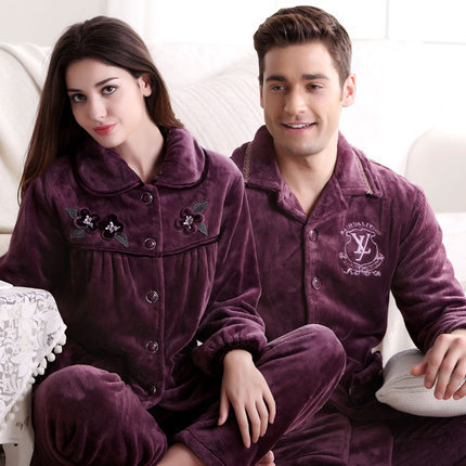 Free Shipping Winter Tcoral Fleece Couples Plus Size Full-sleeve Purple Color Hick Sleepwear