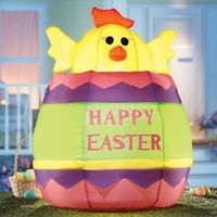 2017 NEW HOT SALE 8FT Inflatable Happy Easter Egg With Chick Yard Decoration