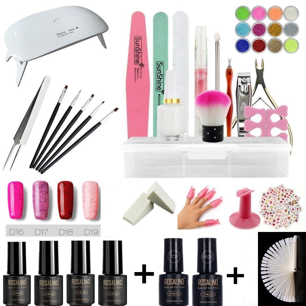 Rosalind nail art set UV LED LAMP With 6 Bottles Gel Nail Polish Set kit Tools Varnish lacquer manicure tools