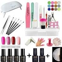Rosalind nail art set UV LED LAMP With 6 Bottles Gel Nail Polish Set kit Nail Tools Gel Varnish lacquer manicure tools kit