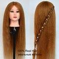 60 cm comprimento do cabelo 100% Real Cabelo natural cabeça profissional cabeleireiro bonecas cabeça maniquines mulheres cabeça manequim cabeça cabeça de formação