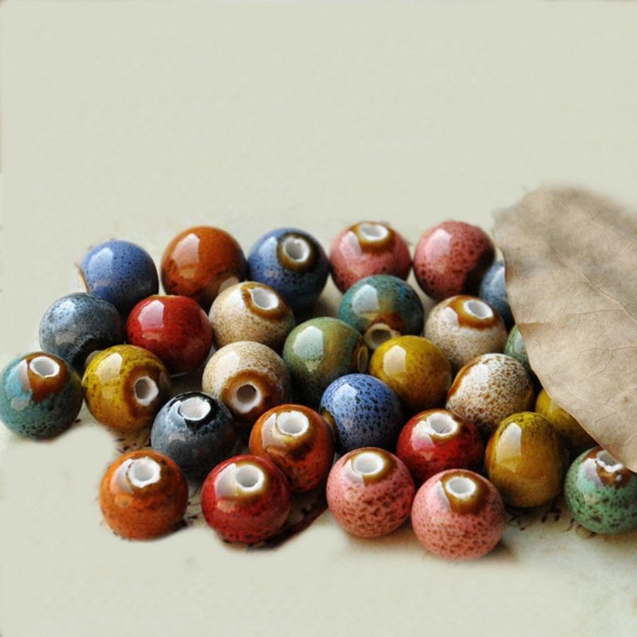 Ceramic Bead Beads: 8mm Round Color Glaze Diy Beads Porcelain Ceramic Beads