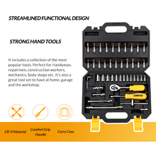 DEKO TZ46 Hand Tool Set General Household Hand Tool Kit with Plastic Toolbox Storage Case Wrench Screwdriver Socket