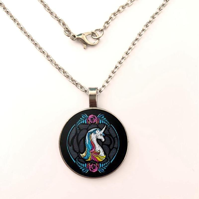 YSDLJG Unicorn White Rainbow Black Fantasy Round Pendant Necklace Girl Chain for Women