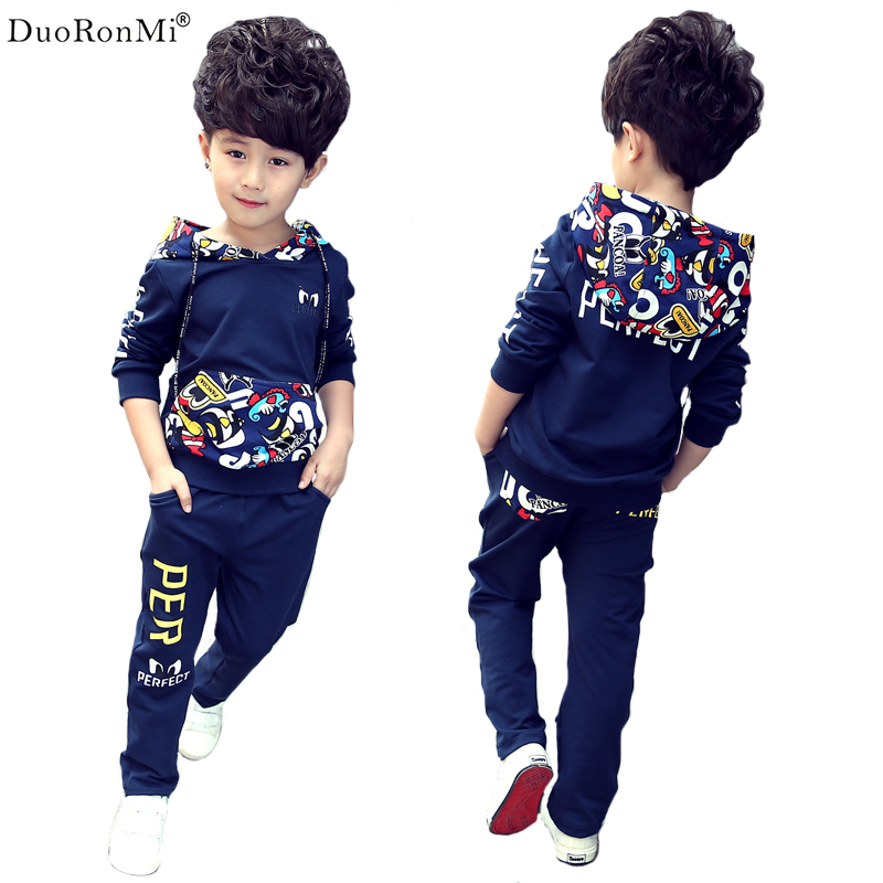 DuoRonMi 2017 Autumn Teenage Boys Clothing Set Hooded Sports Clothes for Boys Children Tracksuit Kids Sport Suit Cartoon Sets  casual kids clothes boys girls clothing sets sports autumn 2017 2pcs girl tracksuit hooded boy set long sleeve children suit