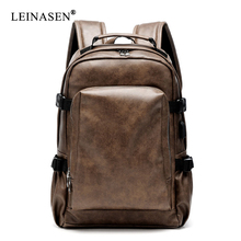 PU Leather Travel Backpack 14inch Notebook Laptop Backpack Male Large Capacity Backpack for Men and Women Casual Bags