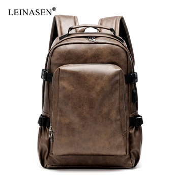 PU Leather Travel Backpack 14inch Notebook Laptop Backpack Male Large Capacity Backpack for Men and Women Casual Bags europe and the retro style men and women backpack genuine leather knapsack casual travel bag schoolbag packsack men bags