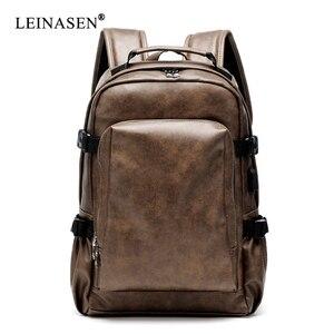 Image 1 - PU deri seyahat sırt çantası 14 inç dizüstü bilgisayar sırt çantası erkek büyük kapasiteli sırt çantası erkekler ve kadınlar için rahat çanta