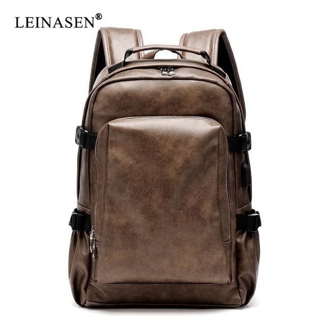 PU deri seyahat sırt çantası 14 inç dizüstü bilgisayar sırt çantası erkek büyük kapasiteli sırt çantası erkekler ve kadınlar için rahat çanta