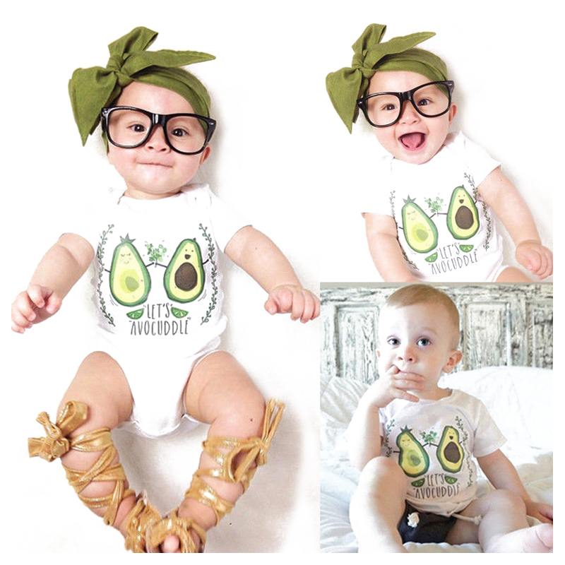 HOT SALE Newborn Baby Boy Girls Infant Clothing Cotton Rompers Jumpsuit Outfits, Cartoon # Let's avocuddle , 0-6 Mont newborn baby rompers baby clothing 100% cotton infant jumpsuit ropa bebe long sleeve girl boys rompers costumes baby romper
