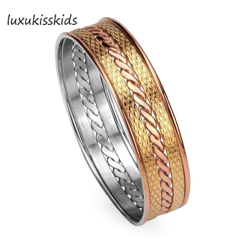 LUXUKISSKIDS бренд Браслеты браслеты, Нержавеющаясталь Vacuum покрытие золото и розовое золото, нет точки сварки