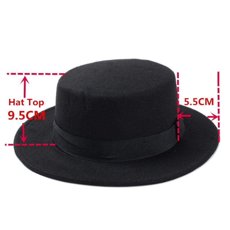 556c91477bd87 Brand New Wool Boater Flat Top Hat For Women s Felt Wide Brim Fedora Hat  Laday Prok Pie Chapeu de Feltro Bowler Gambler Top Hat -in Fedoras from  Apparel ...