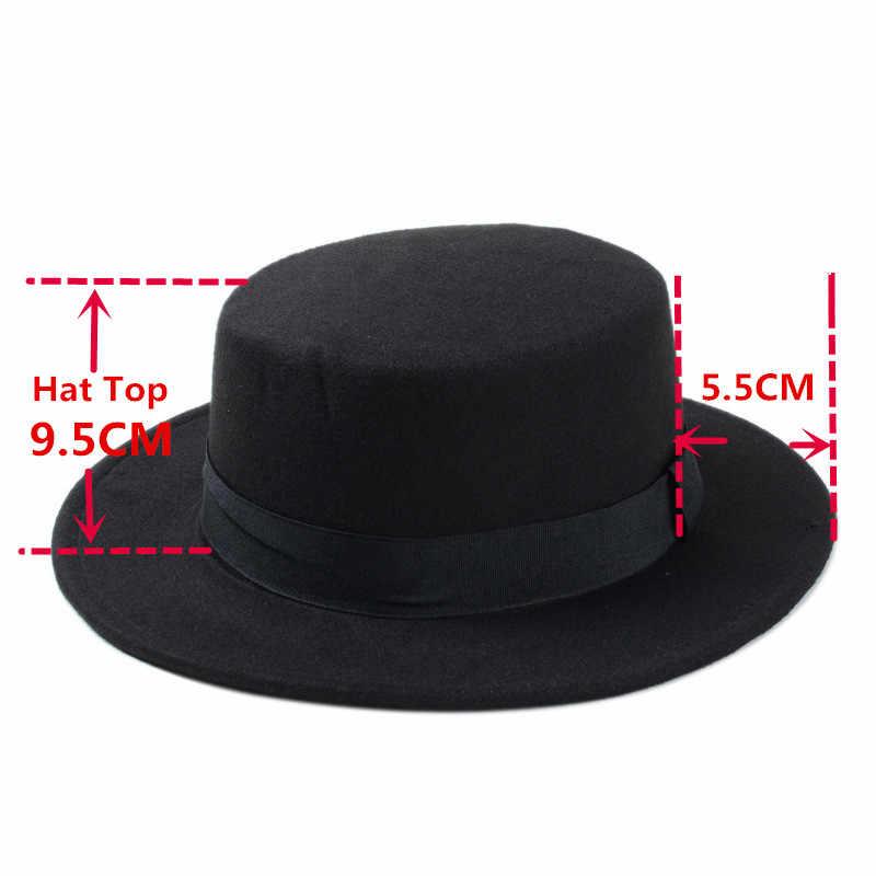 Brand Nieuwe Wol Schipper Flat Top Hat Voor vrouwen Vilten Brede Rand Fedora Hoed Laday Prok Pie Chapeu de feltro Bowler Gambler Top Hoed