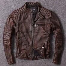 送料無料。ヴィンテージスタイルメンズ牛革服、品質バイカーレザージャケット、ファッション黒の本革コート。オムスリム、