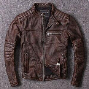 Image 1 - Darmowa wysyłka. Styl Vintage męskie ubrania ze skóry wołowej, wysokiej jakości skórzana kurtka dla motocyklisty, moda czarne prawdziwa skóry płaszcz. homme slim,