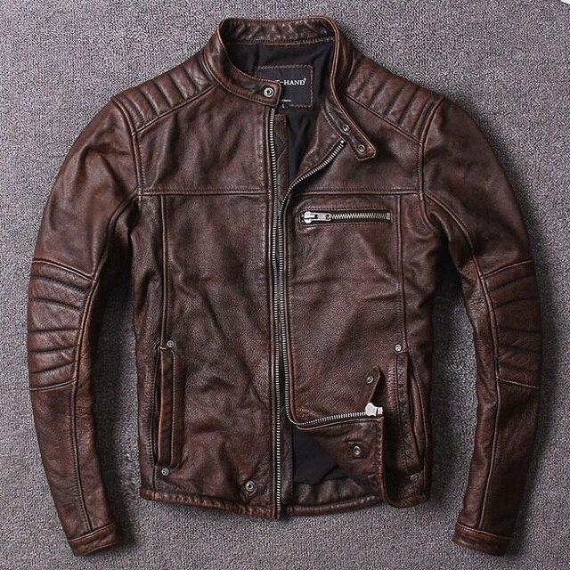 Darmowa wysyłka. Styl Vintage męskie ubrania ze skóry wołowej, wysokiej jakości skórzana kurtka dla motocyklisty, moda czarne prawdziwa skóry płaszcz. homme slim,