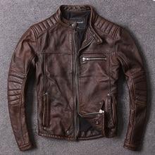 Frete grátis. estilo vintage roupas de couro dos homens, qualidade motociclista jaqueta de couro, moda preto casaco de couro genuíno. homme magro,