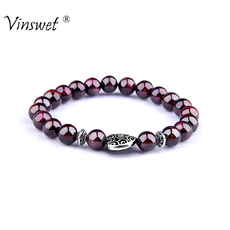 Fashion Natural Stone Garnet Strand Bracelet Men Fashion Wine Red Beads Bracelets for Men Women Buddha Jewelry Pulseras Mujer