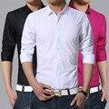 2016 Men Shirt British Style Business Long-Sleeve Male Slim fit Casual Shirts Men's Clothing green purple Shirts men M-3XL