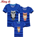 Ming Di New 2016 Fashion Family Matching Outfits Cartoon Owl Style High quality Summer T shirts Casual Cotton Children Clothing