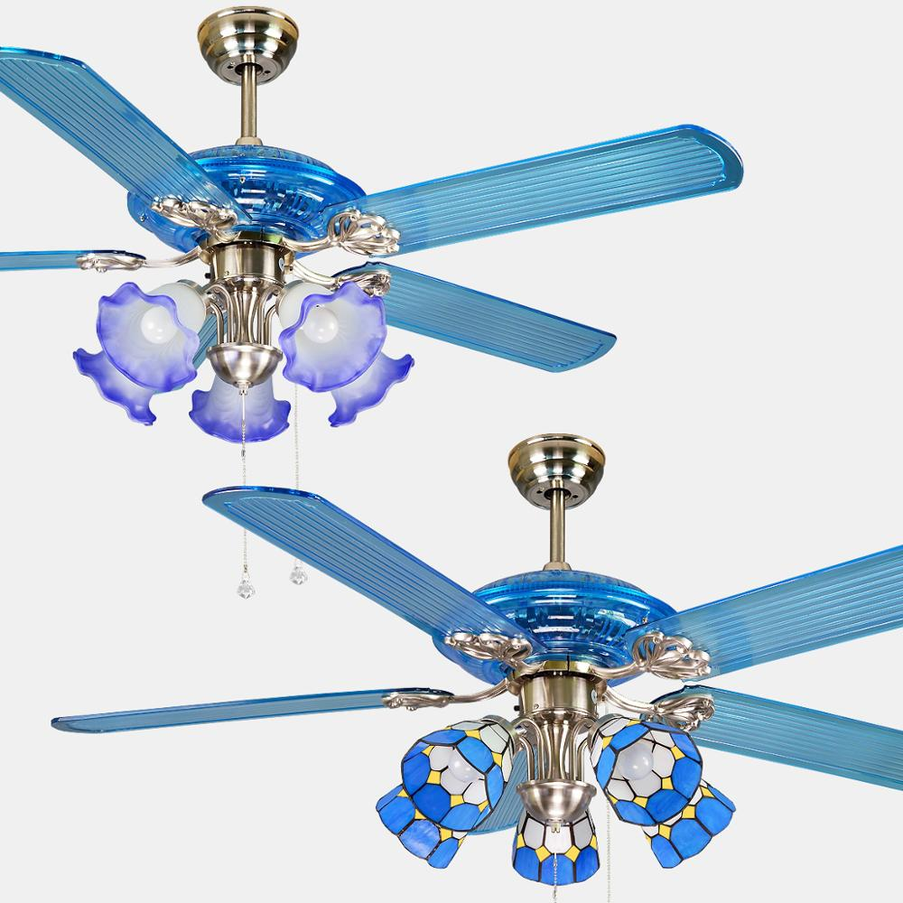Ceiling Fan Modern LED European Ceiling Fans 52inch Blue Glass Lampshade Decorative Fans in Ceiling Fans from Lights Lighting