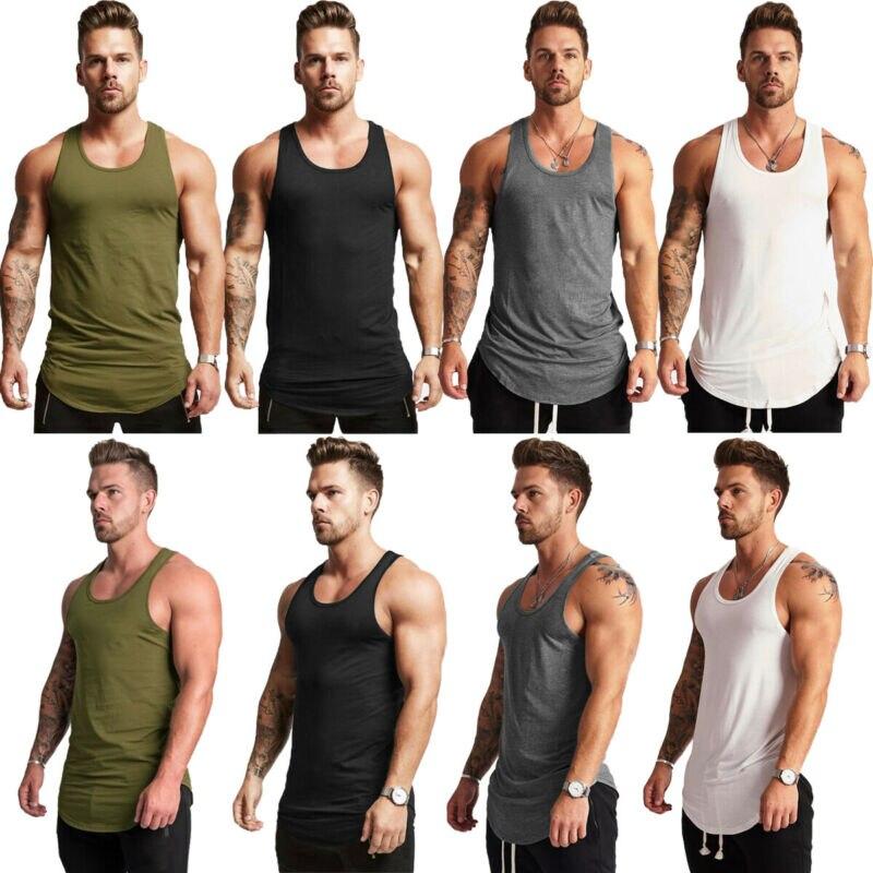 running - 2019 high quality Men's Summer Muscle Sleeveless Tank Top T-Shirt Bodybuilding Sport Fit Vest Tee
