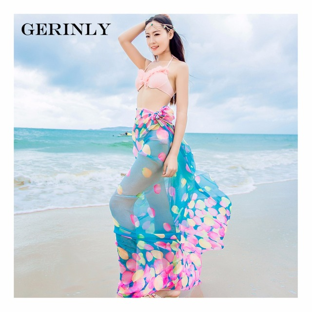Scarves Pareo Sexy Women's Chiffon Sarongs Summer Bikini Scarf Swimsuit Dress Beach Cover Up Tunic Wraps Ladies Shawls 150*180cm 1