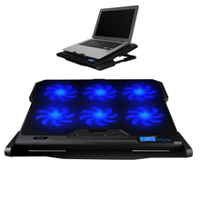 Laptop Cooler K6 2 USB Ports 6 Cooling Fan Angle Speed Adjustable Slide-Proof Stand For 12-16 Inch Ultrabook Game Tablet