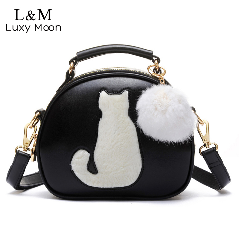 Cute Cat Messenger Bags Girls Circle Black Leather Handbag Fashion Women Fur Ball Crossbody Shoulder Bag Small Flap bolso XA122H