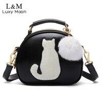 Cute Cat Messenger Bags Girls Círculo Negro Bola de Piel de Las Mujeres de Moda Bolso de Cuero Crossbody Del Bolso de Hombro Small Flap bolso XA122H