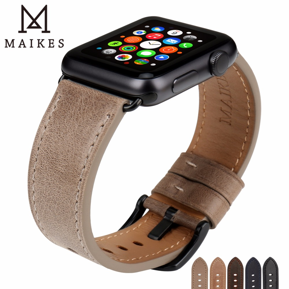 все цены на MAIKES Leather Watchband Replacement For Apple Watch Band 44mm 40mm / 42mm 38mm Series 4 3 2 1 All Models iWatch Watch Strap онлайн
