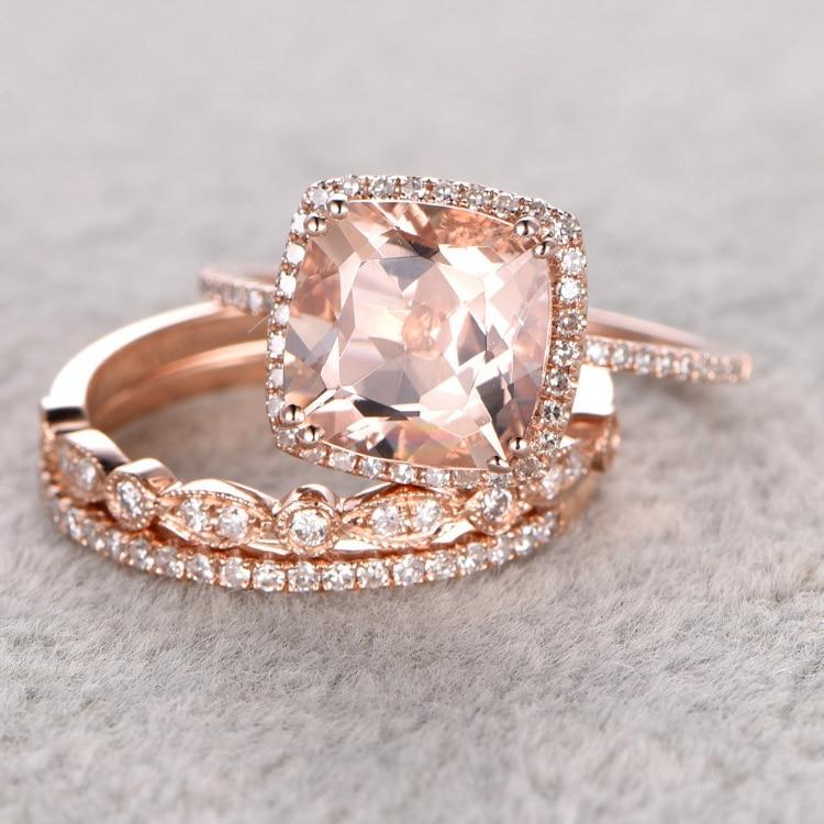 ᑎ Ring For Women ୧ʕ ʔ୨ 3pc 3pc 9mm 0 3ct Morganite