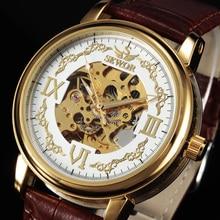 SEWOR Esqueleto Reloj de Los Hombres de Moda Banda de Cuero de Oro de Lujo Relojes Para Hombre Vestido de Negocios Reloj Mecánico Automático Ocasional