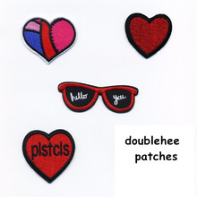 The Love Heart  The Glasses Hello You Patches Iron On Embroidered Patch For Clothing Sticker Paste For Clothes Bag Pants Sewing heart print glasses bag