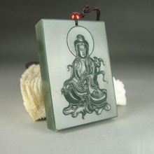 Natural Chinese Hetian jade and hand-carved Guanyin pendant fashion sweater chain pendant jewelry gifts natural red stone hand carved pendants red jade sweater chain buddha pendant chinese style necklace jewelry collection of gifts