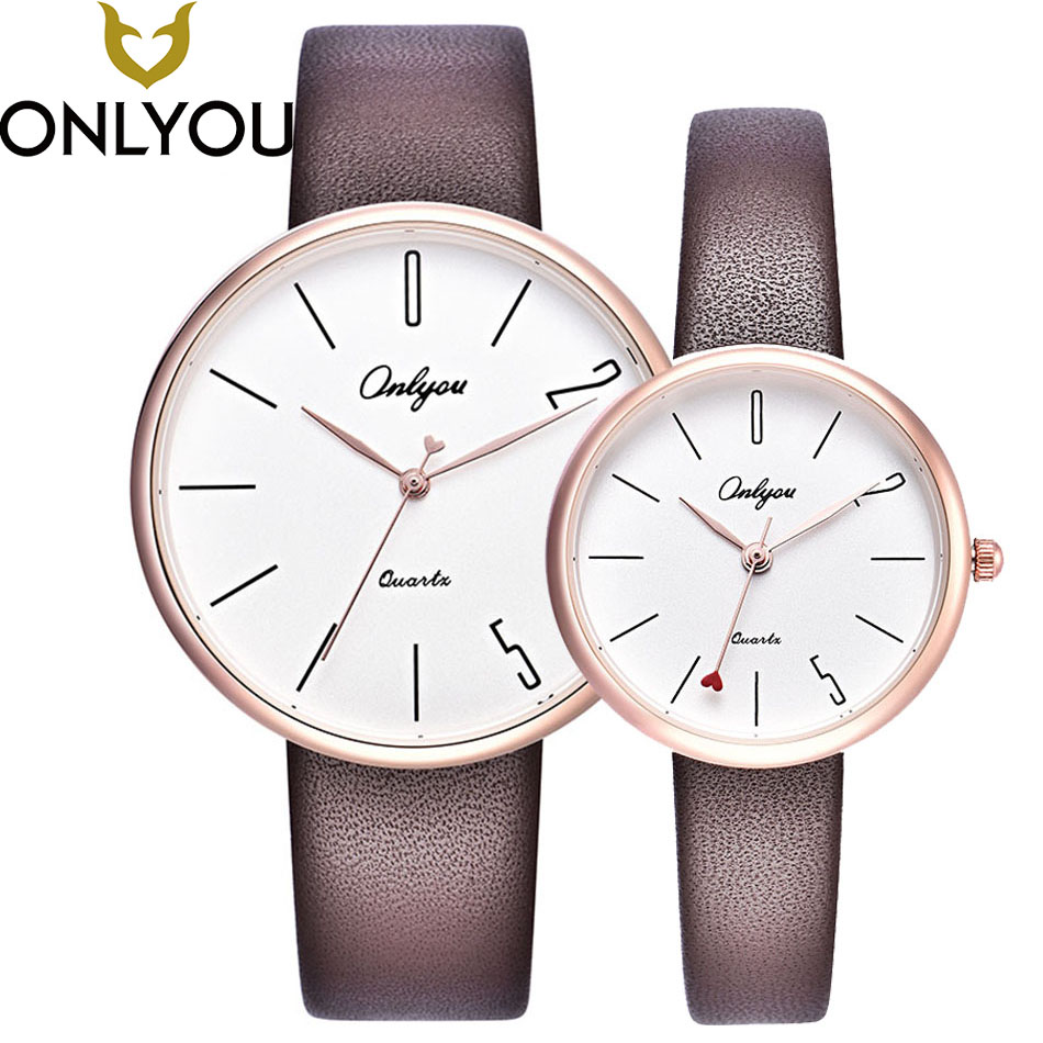 ONLYOU Lovers Watches Fashion Business Couple Unique Design Heart-shaped hour Leather Band Quartz Clock Women Simple Watches onlyou lovers watch men women quartz watches fashion design real leather band couple dress calendar waterproof analog wristwatch