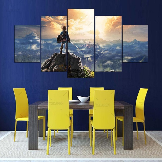 Canvas Painting Wall Pictures 5 Panel Game Wall Art Legend Of Zelda Poster For Living Room Home Decor Modular Pictures Frames 2