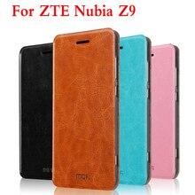Оригинал Mofi кожаный чехол для ZTE Нубия Z9, оригинальная Флип Кожаные чехлы функцией подставки для ZTE Нубия Z9