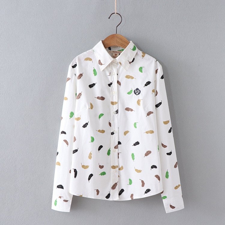 Feather Print Shirt Women Blouse 4