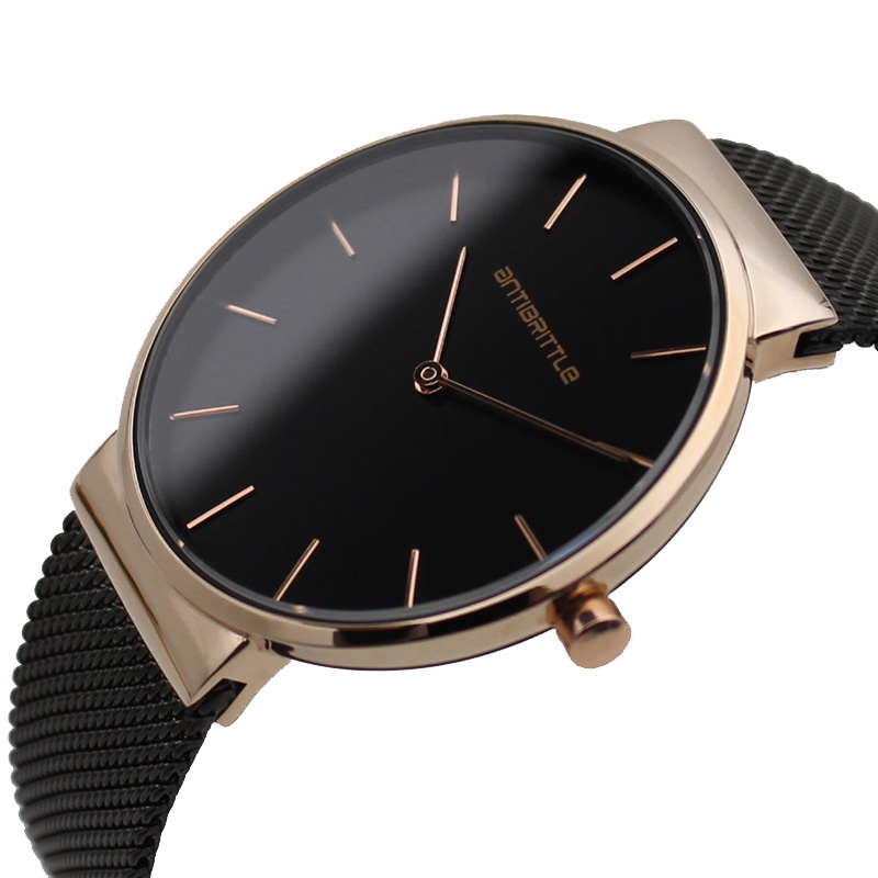 Black Fashion Luxury Man Watch Woman Unisex Brand Simple Business Mesh Stainless Steel Band Japan Quartz Thin Waterproof Relogio black fashion luxury man watch woman unisex brand simple business mesh stainless steel band japan quartz thin waterproof relogio