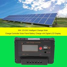 30A 12V/24V USB 5V LCD Solar Panel Charge Regulator Battery Controller USB Charger with Conneting Cable Digital LCD Display