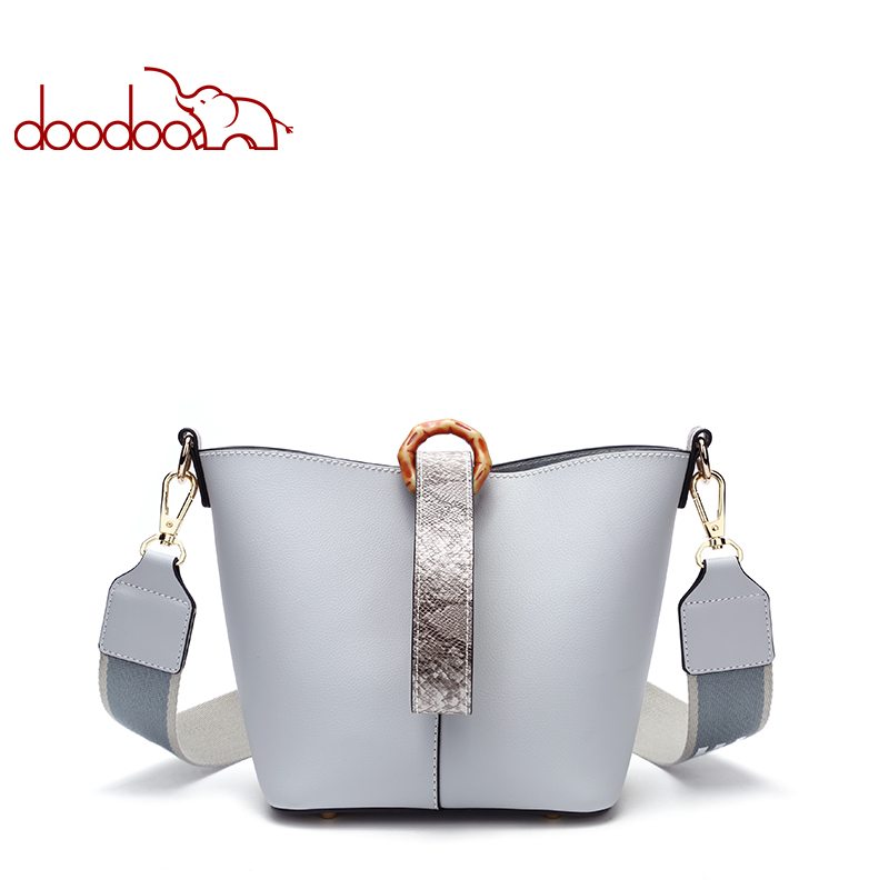 DOODOO Fashion PU Leather Women Bag Bucket Double Shoulder Strap Large Capacity Handbag Female Crossbody Bags Wide Shoulder Bags 2017 120cm diy metal purse chain strap handle bag accessories shoulder crossbody bag handbag replacement fashion long chains new