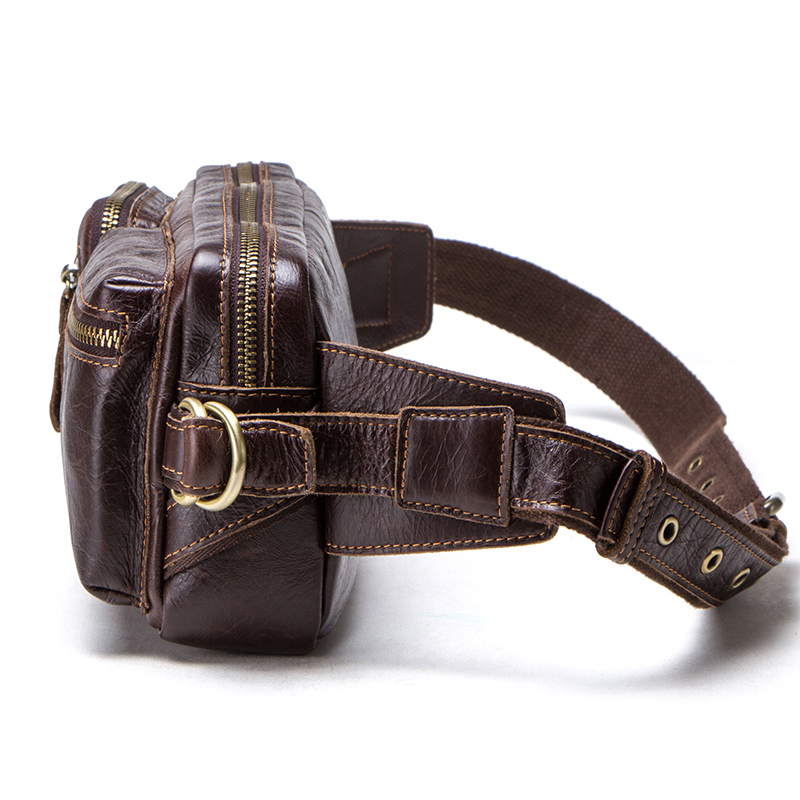 CONTACT'S genuine leather men's belt bag new small fanny pack top quality male waist bag for cell phone travel chest bags man 1