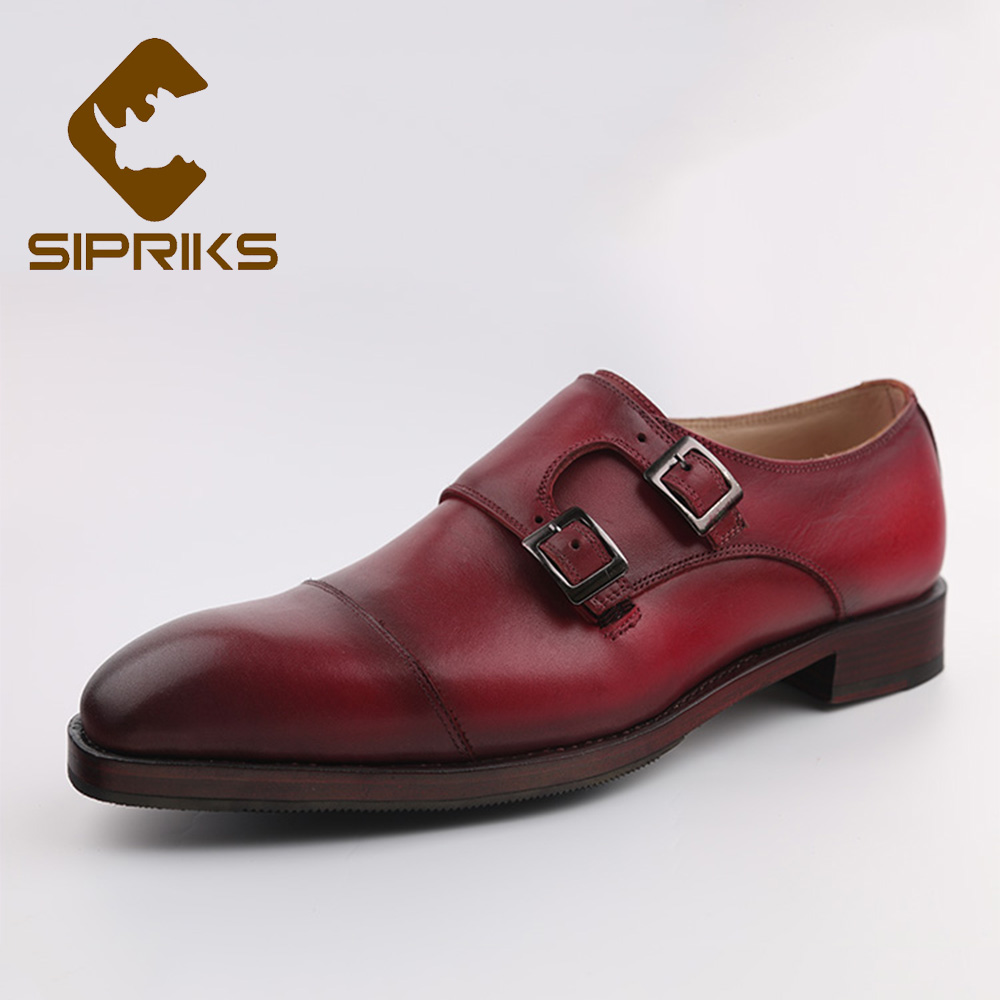 51815408d Sipriks Calf Leather Double Monk Straps Classic Buckle Strap Dress Shoes  Italian Handmade Goodyear Welted Shoes