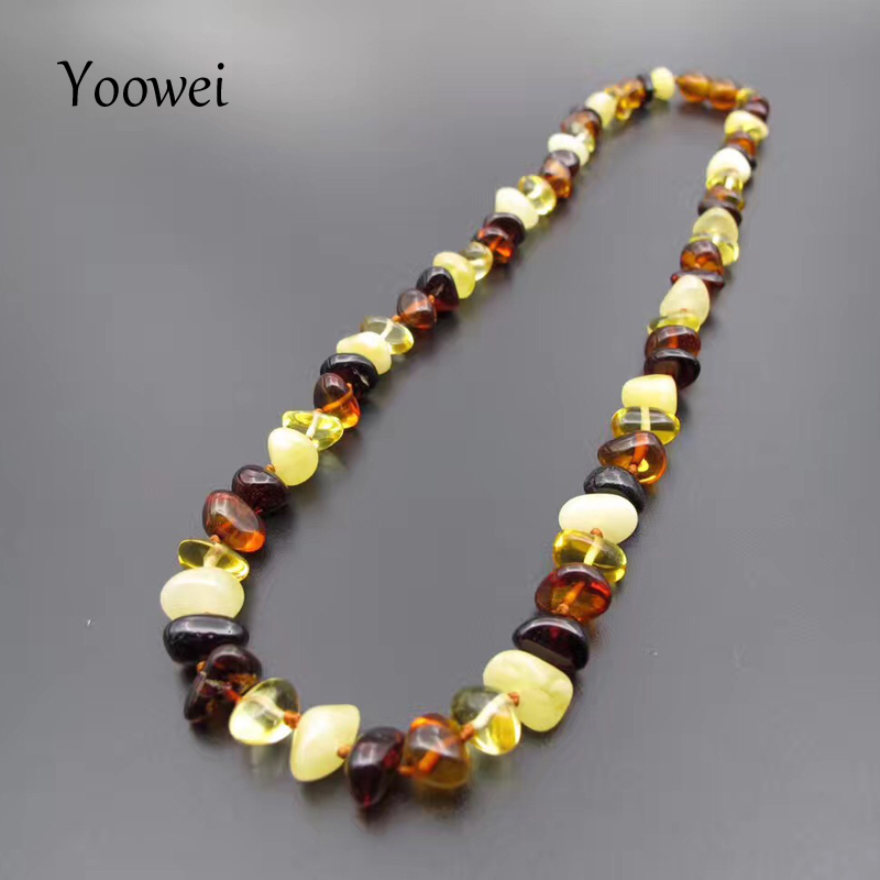 Yoowei 45cm Amber Necklace Original Beads Adults Gift Baroque Style Natural Baltic Amber Collar Women Jewelry Wholesale 12g--15gYoowei 45cm Amber Necklace Original Beads Adults Gift Baroque Style Natural Baltic Amber Collar Women Jewelry Wholesale 12g--15g